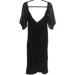 NEW ASOS Design Curve Black Midi Dress Size 14